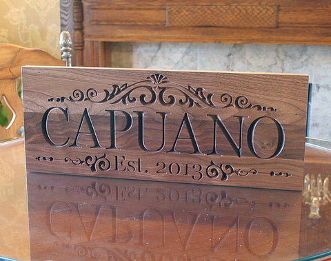 Personalized Family Established Sign Family Name Sign Wedding Signage Wedding Anniversary Gift Man Cave Decor Last Name Sign Walnut LM