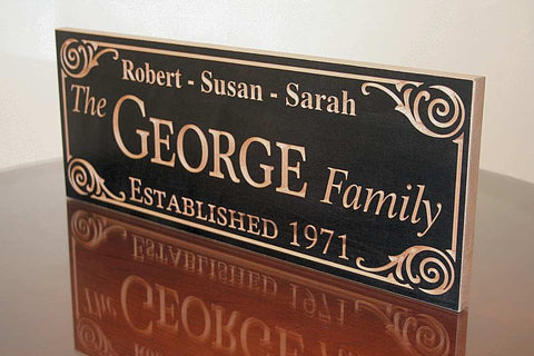 Personalized Family Name Sign, 5th Anniversary Sign, Benchmark Custom Signs Maple GG
