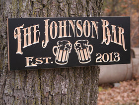 Personalized Home Bar Sign, Brewery Sign, Personalized Rustic Bar Sign, Personalized Pub Sign, Benchmark Custom Signs Maple JB