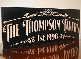 Personalized Home Bar Sign, Awesome Manly Gift, Carved Wooden Signs, Benchmark Custom Signs Maple TV2