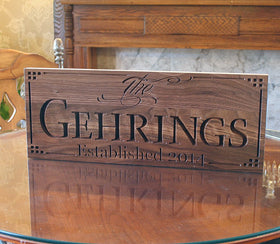 Personalized Marriage Sign, Family Name Sign, Benchmark Custom Signs Walnut LL