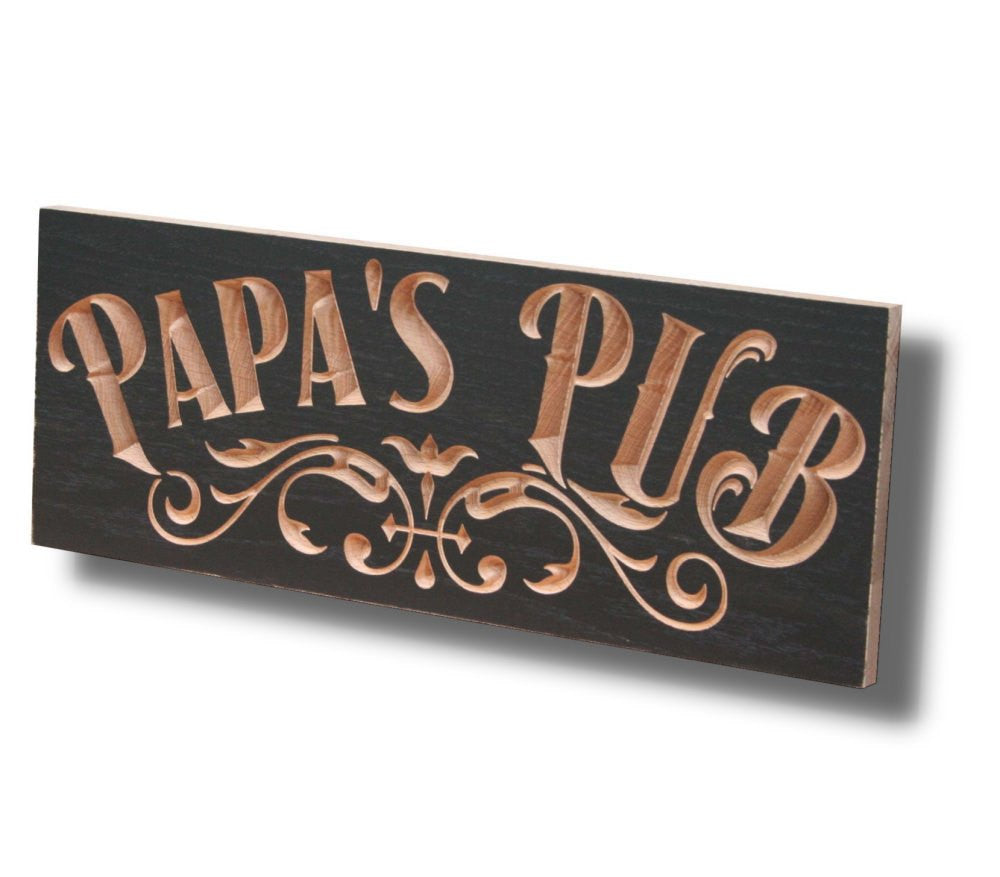 Personalized Pub Sign, Carved Wooden Signs, Brewery Sign, Personalized Home Bar Sign, Maple PU