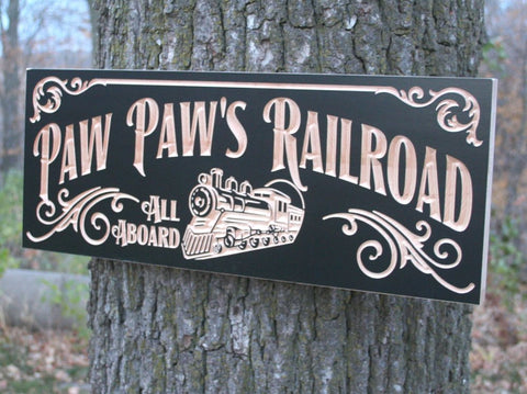 Railroad Sign Anniversary Gift For Men Personalized Man Cave Sign Last Name Sign Personalized Garage Sign Cabin Sign Maple PR