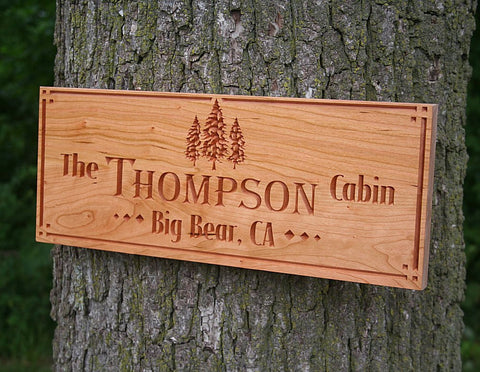 Rustic Family Established Signs, Personalized Cabin Signs, Benchmark Custom Signs Cherry TE