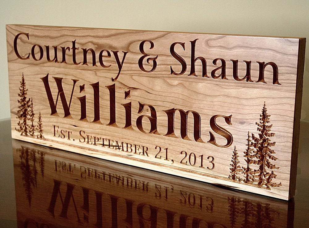 Rustic Family Established Sign Personalized Sign Family Established Sign Family Name Sign, Cherry TL