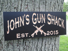 Rustic Man Cave Sign, crossed rifles sign