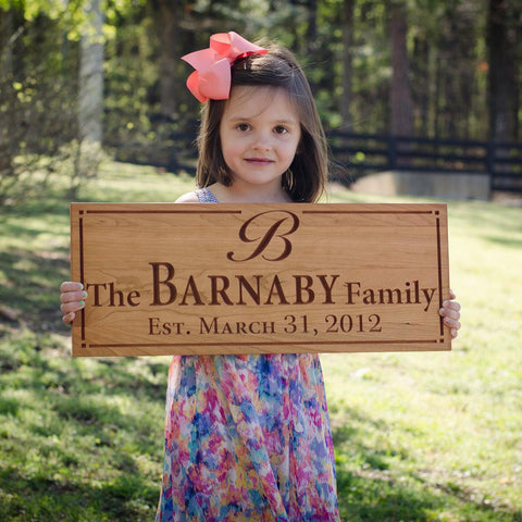 Wedding Anniversary Gift Anniversary Gift For Boyfriend Family Established Sign Family Name Sign In Wood Cherry WW