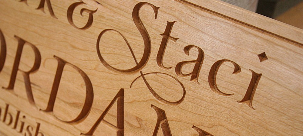 Cherry Wood Sign and Carving