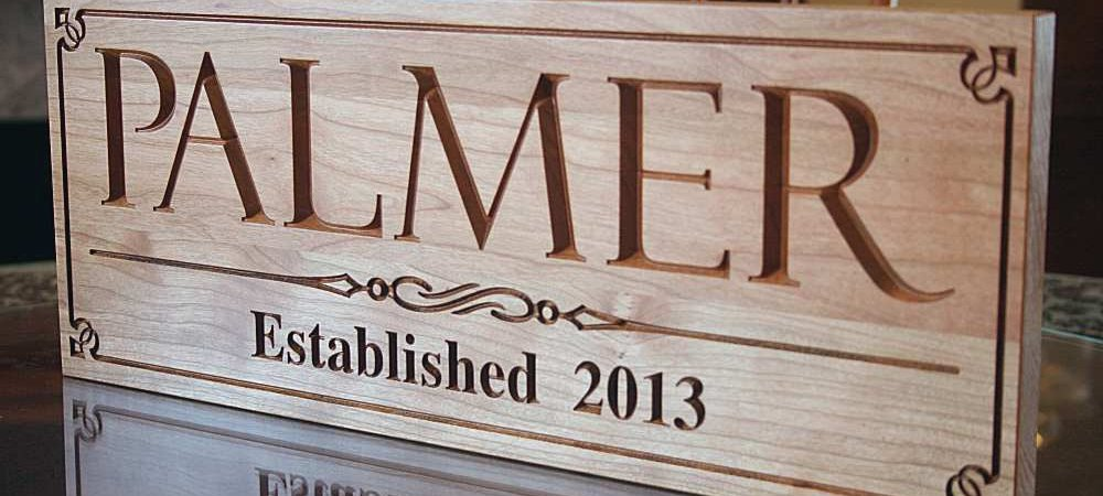 Custom Established Sign in Cherry Wood