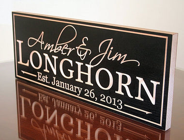 Family Name Signs in Black / Natural Finish