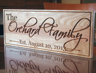Family Name Signs In Natural Cherry