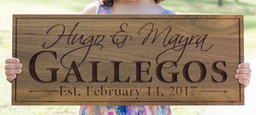 Walnut Wall Sign - Established Family
