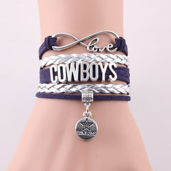 Infinity Love Cowboys bracelet Football team Charm