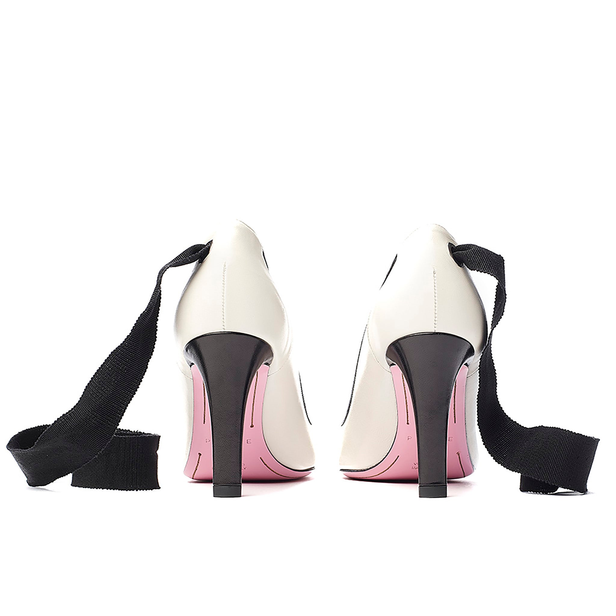 Ribbon tie pump in cream/black leather back view