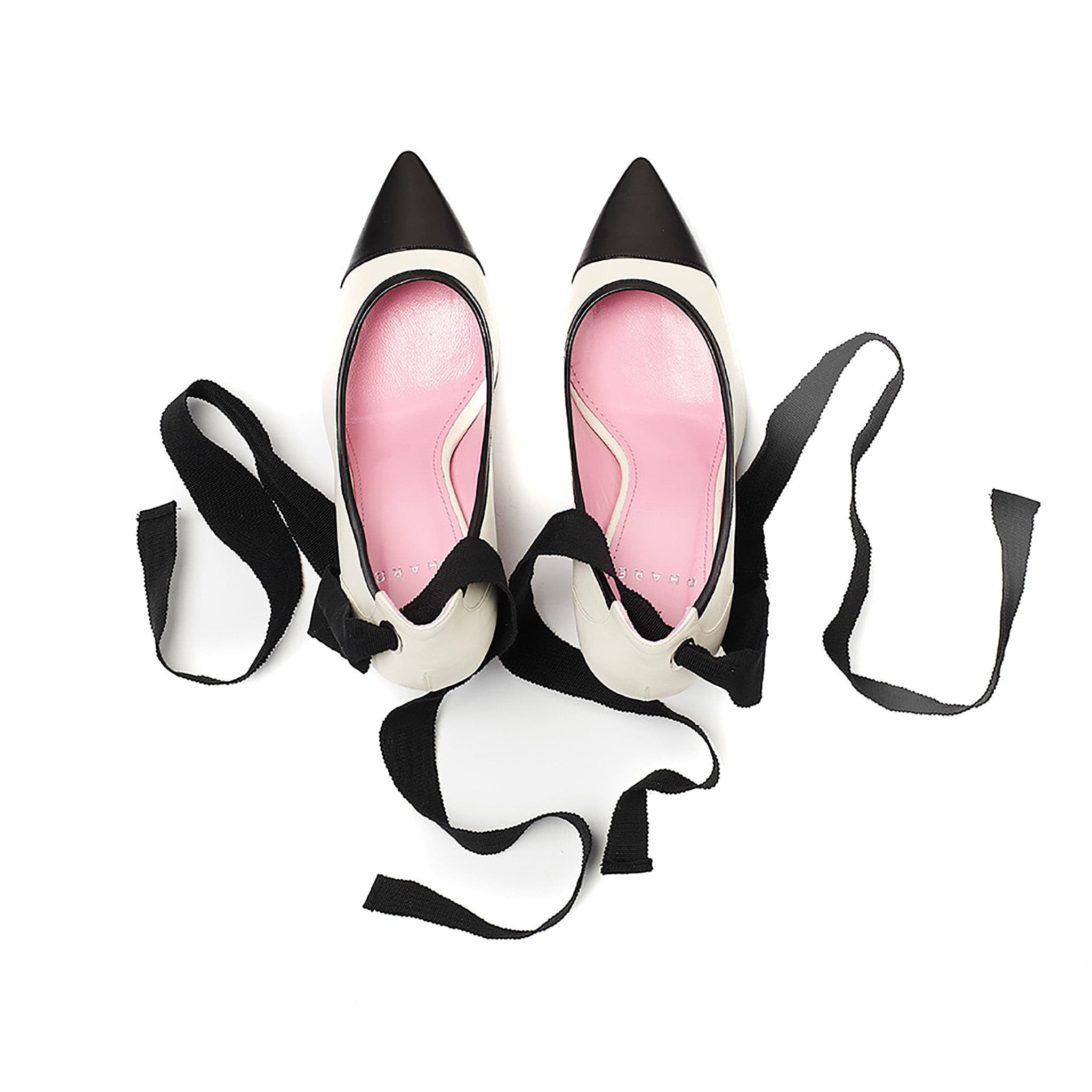 Ribbon tie pump in cream/black leather top view