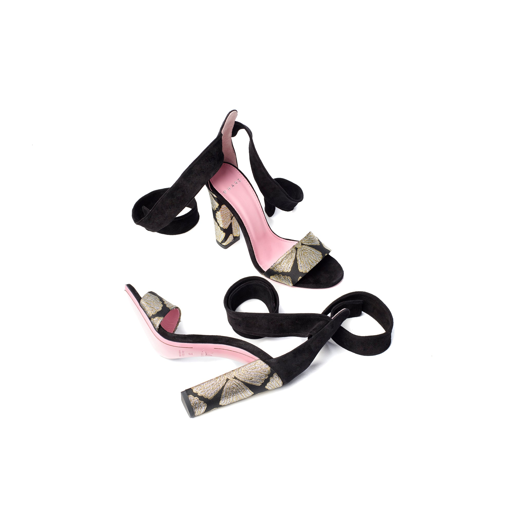 Phare Ankle tie block heel with metallic brocade heel and black suede sole view