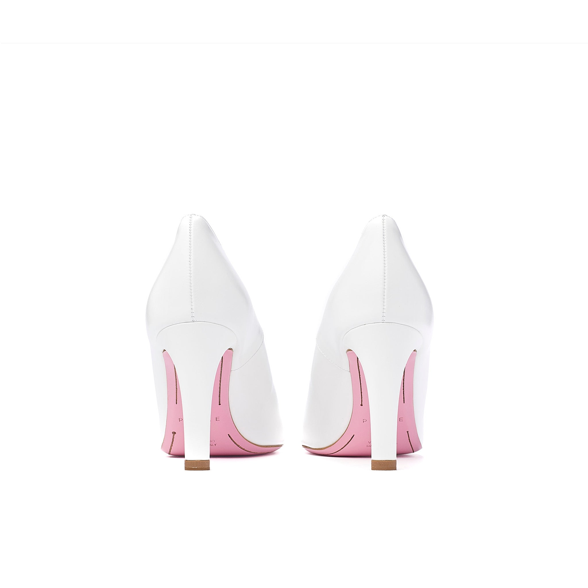 phare Asymmetrical pump in chalk leather back view