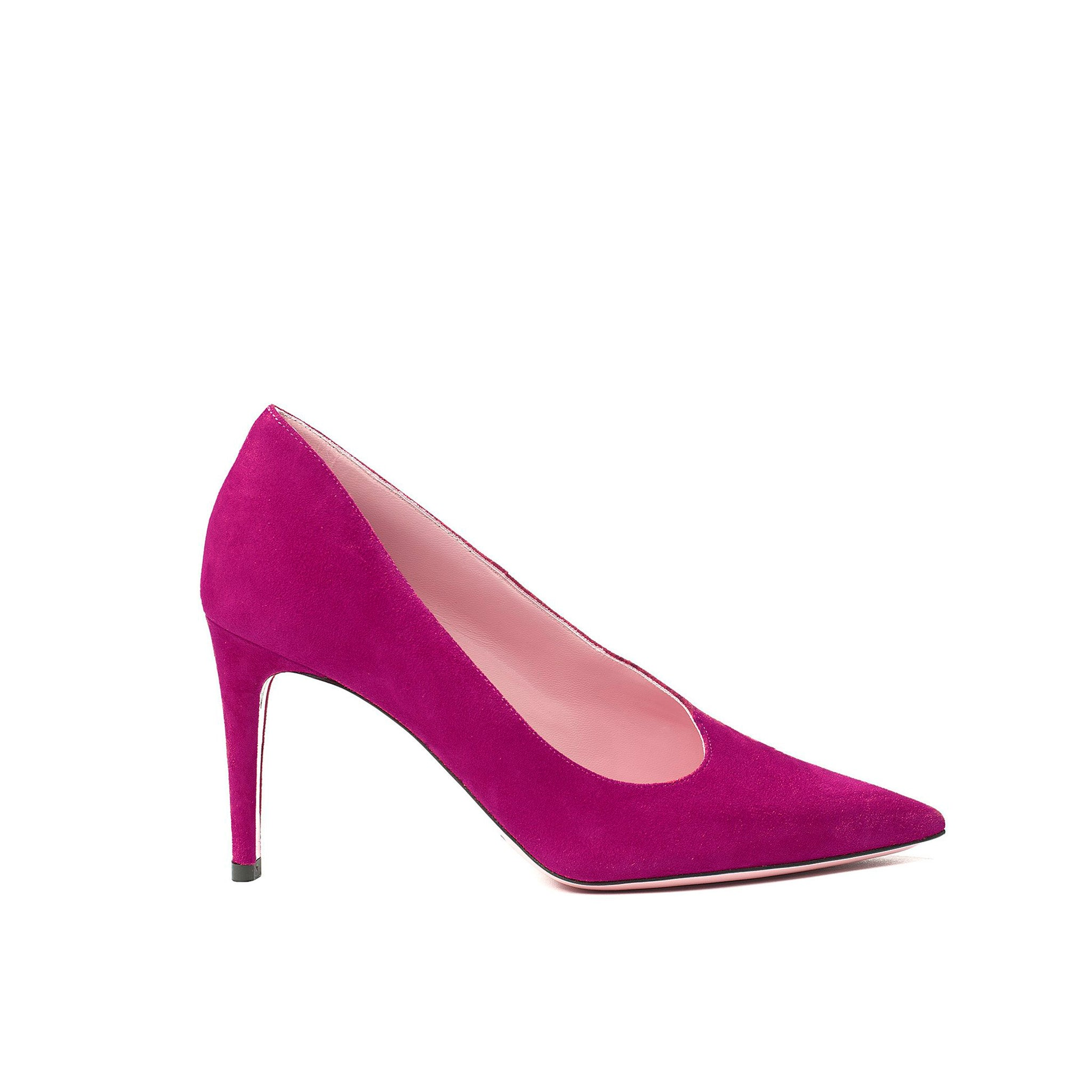 Phare Asymmetrical pump in azalea suede