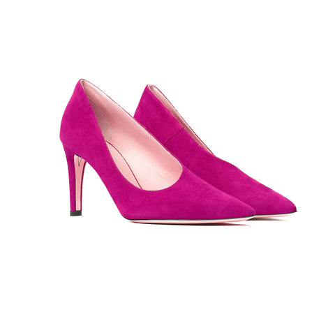 Phare Asymmetrical pump in azalea suede 3/4 view