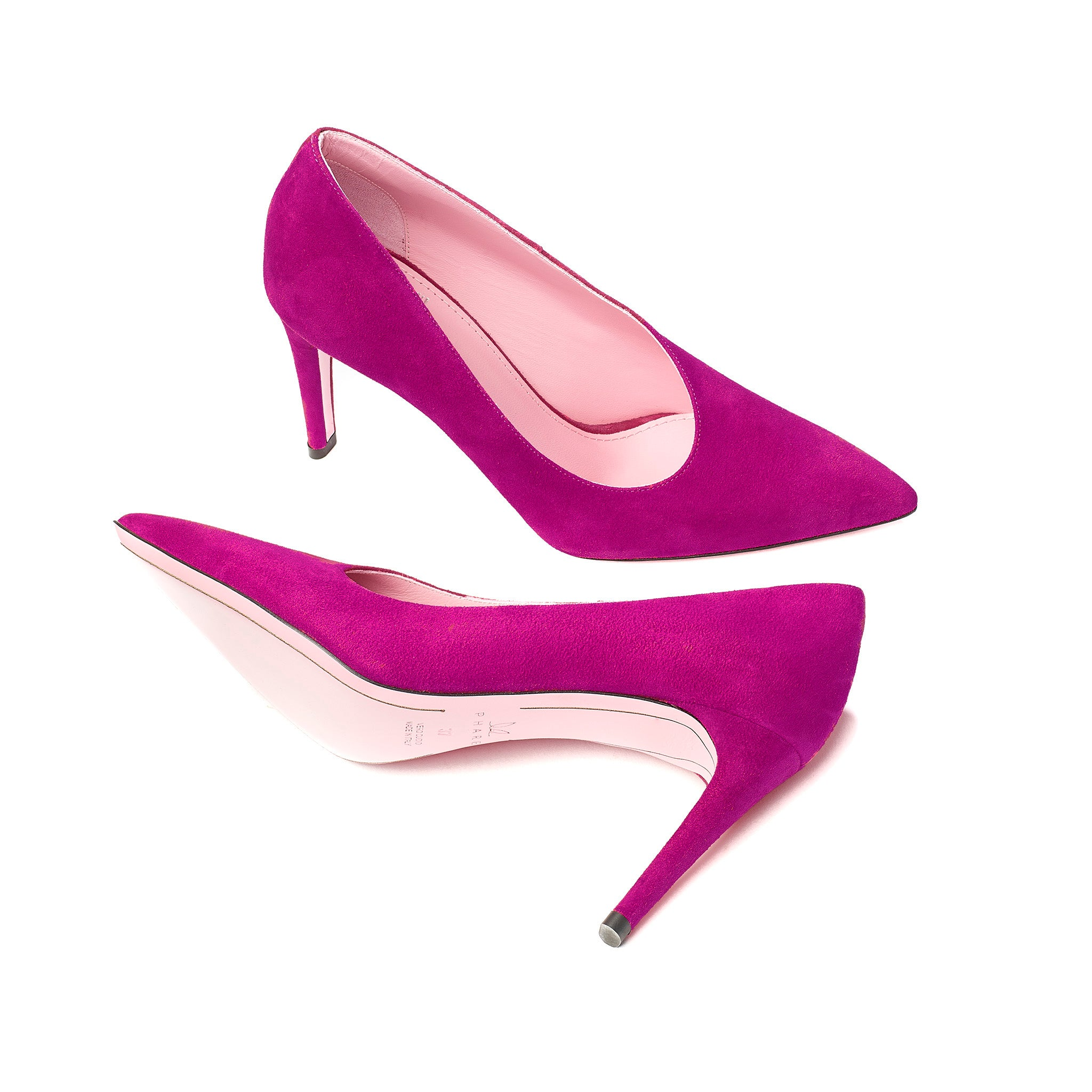 Phare Asymmetrical pump in azalea suede sole view