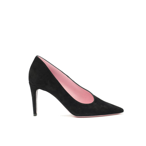 Phare asymmetrical pump in black suede