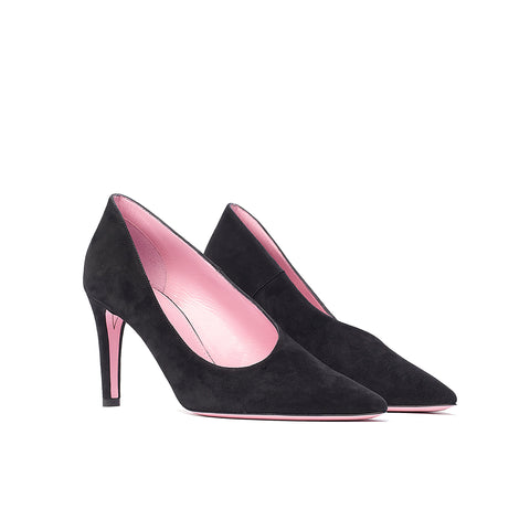 Phare asymmetrical pump in black suede 3/4 view