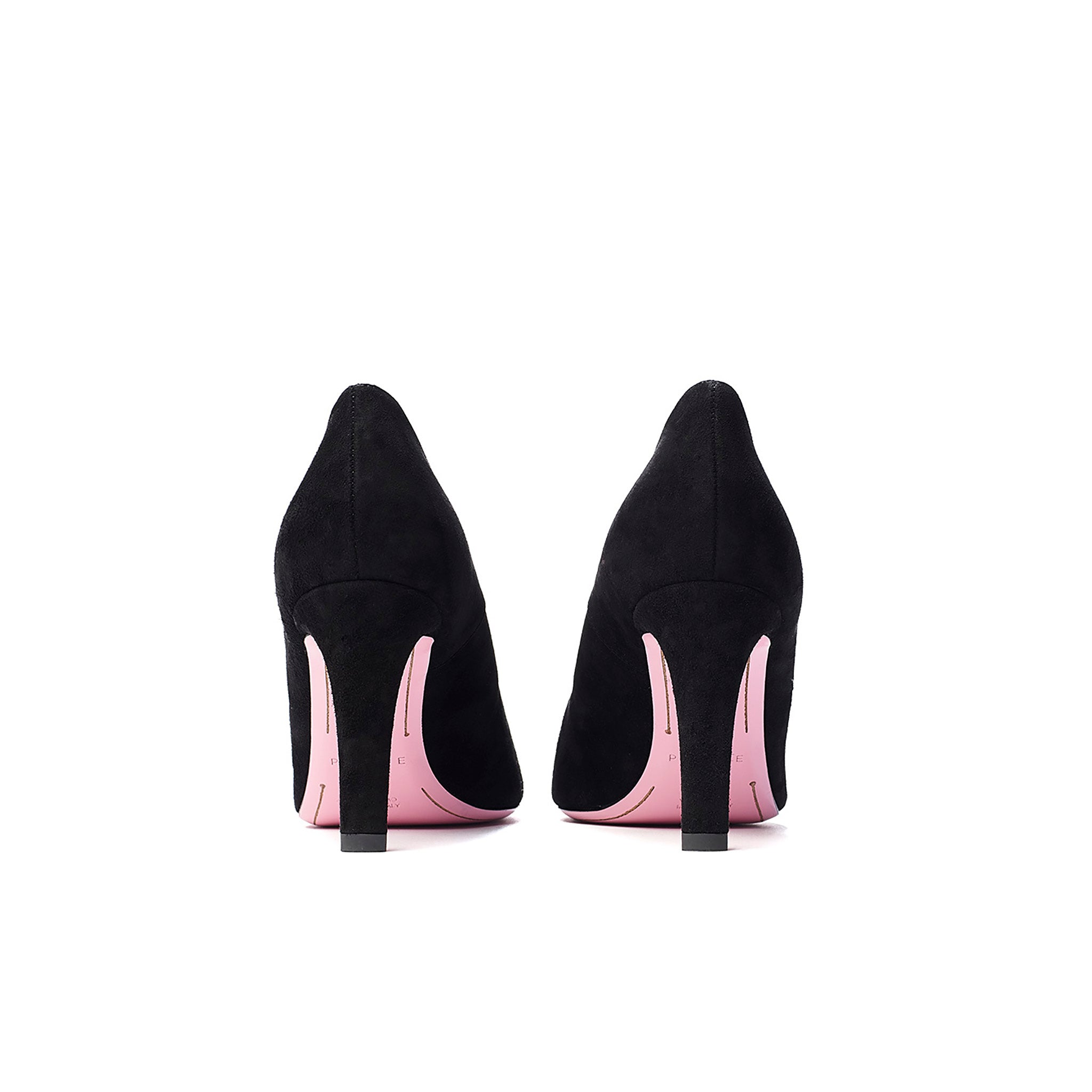 Phare asymmetrical pump in black suede top view