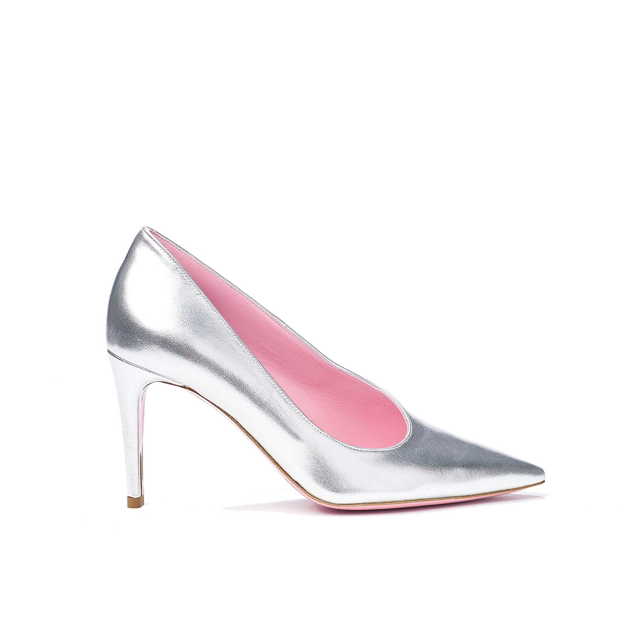 Phare asymmetrical pump in metallic silver leather
