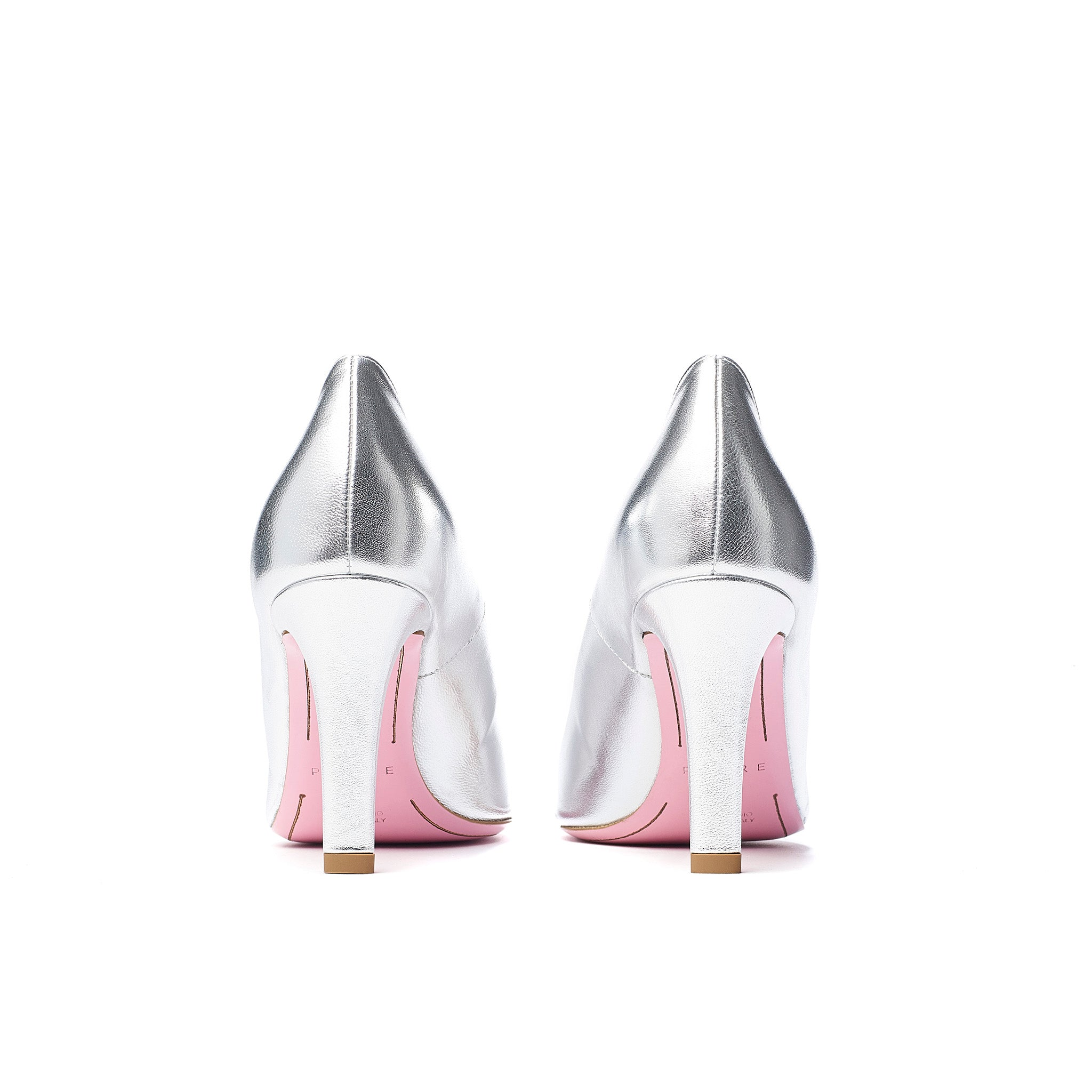 Phare asymmetrical pump in metallic silver leather back view