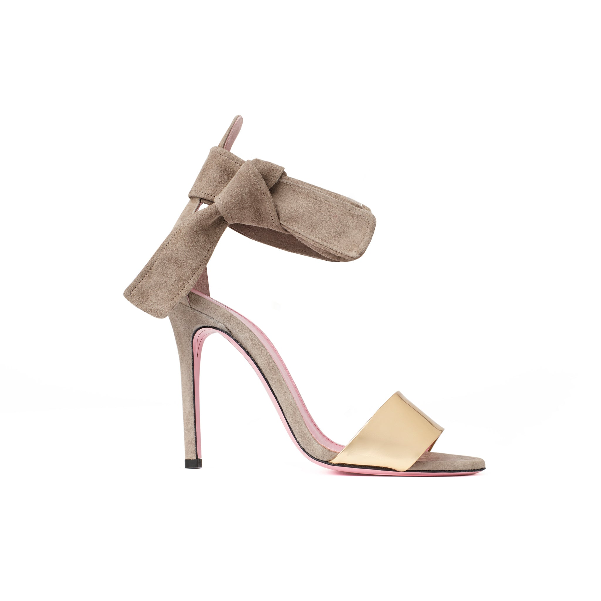 Phare Ankle tie stiletto in taupe suede