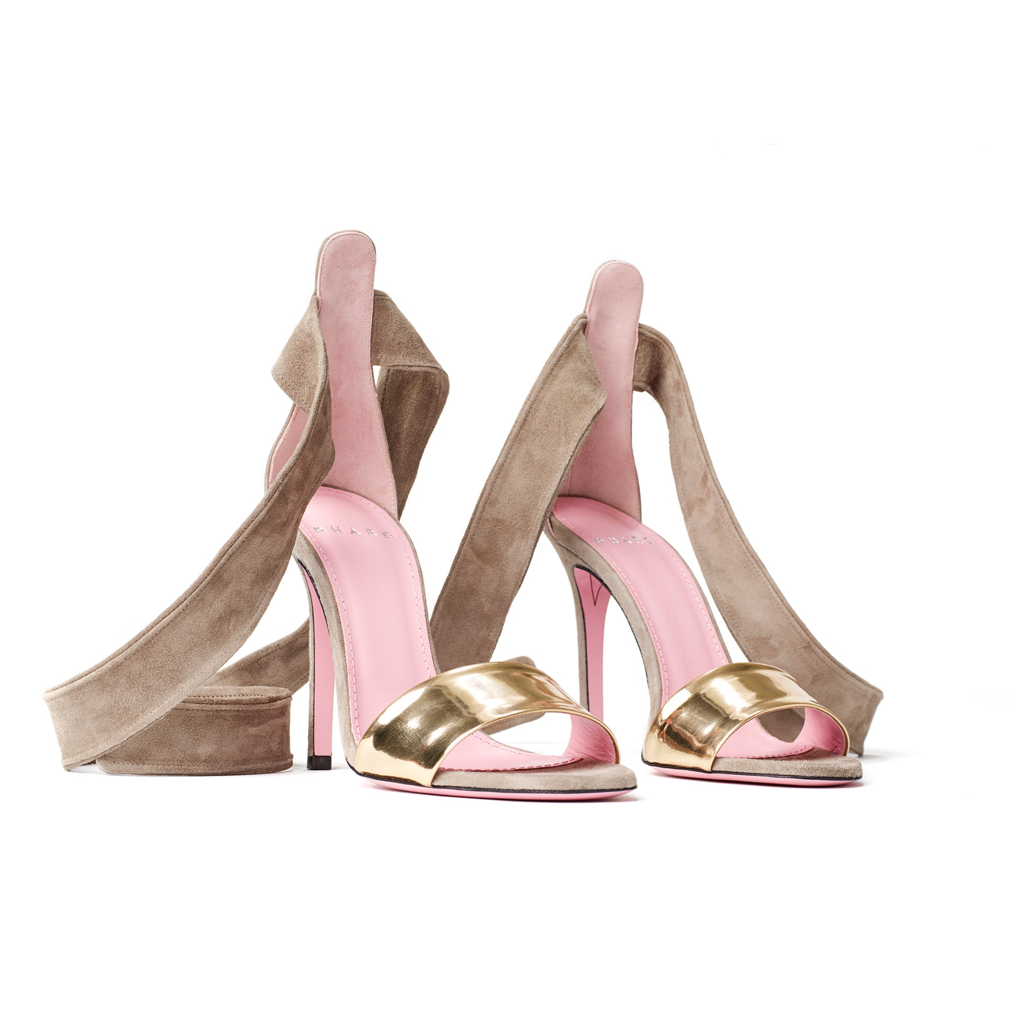 Phare Ankle tie stiletto in taupe suede 3/4 view