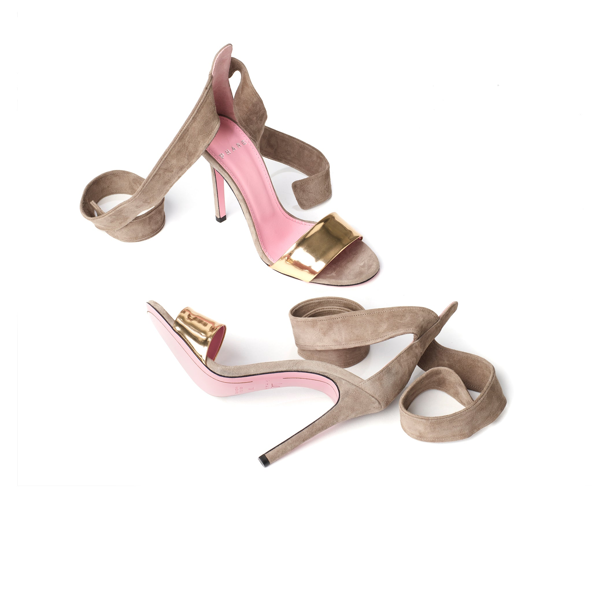 Phare Ankle tie stiletto in taupe suede sole view
