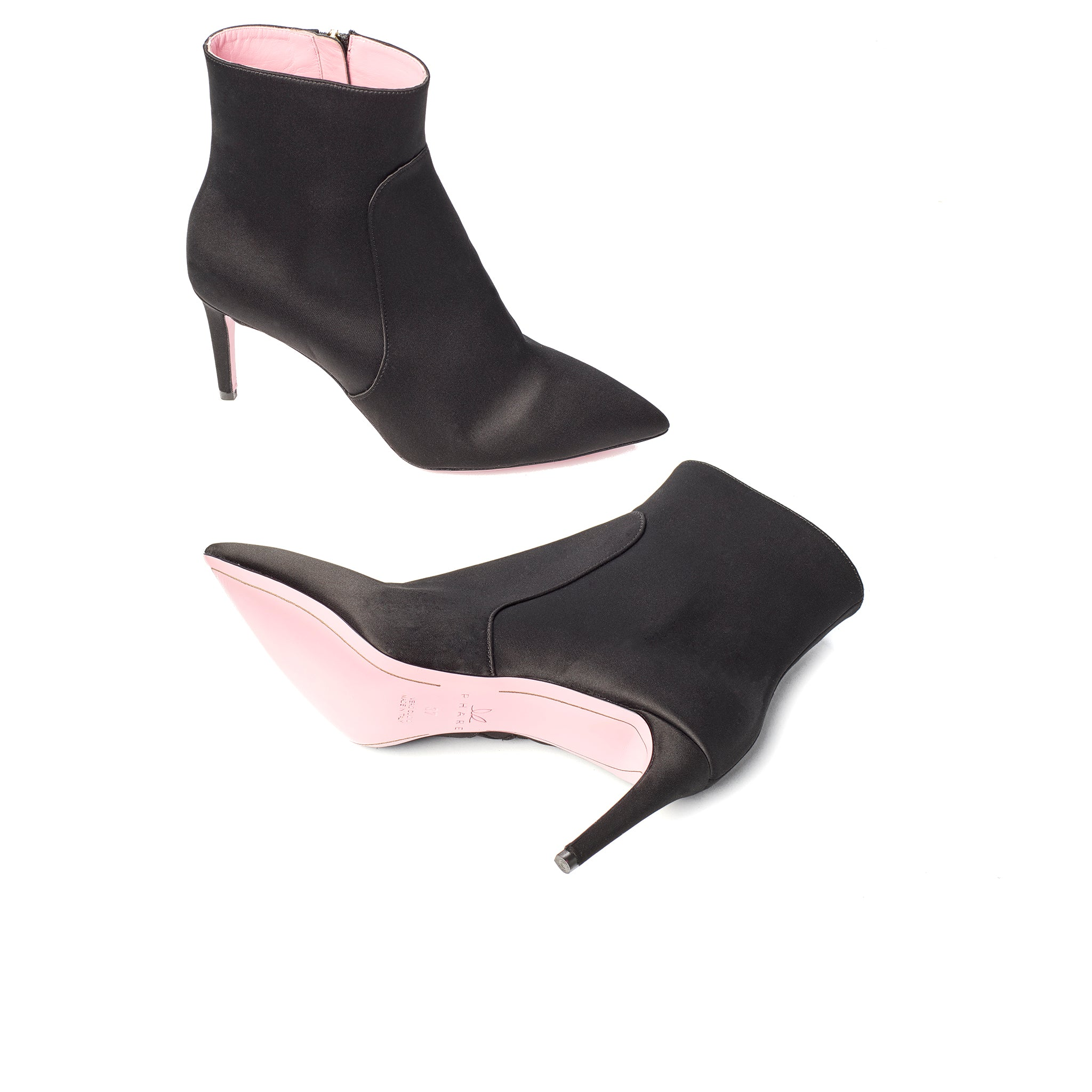 Phare  pointed claasic high heel boot in black silk satin, made in Italy sole view