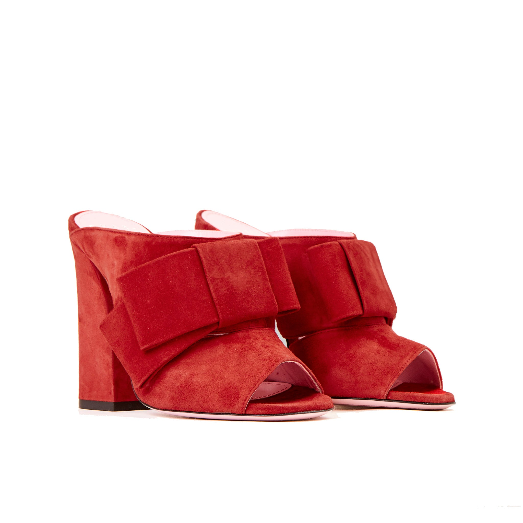 Phare High heel block heel mule with bow in rosso suede 3/4 view