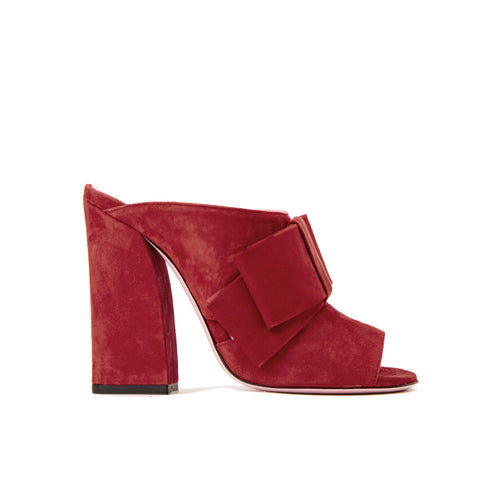 Phare High heel block heel mule with bow in rosso suede