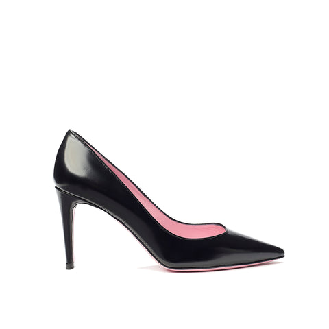 Phare classic pump in black box leather