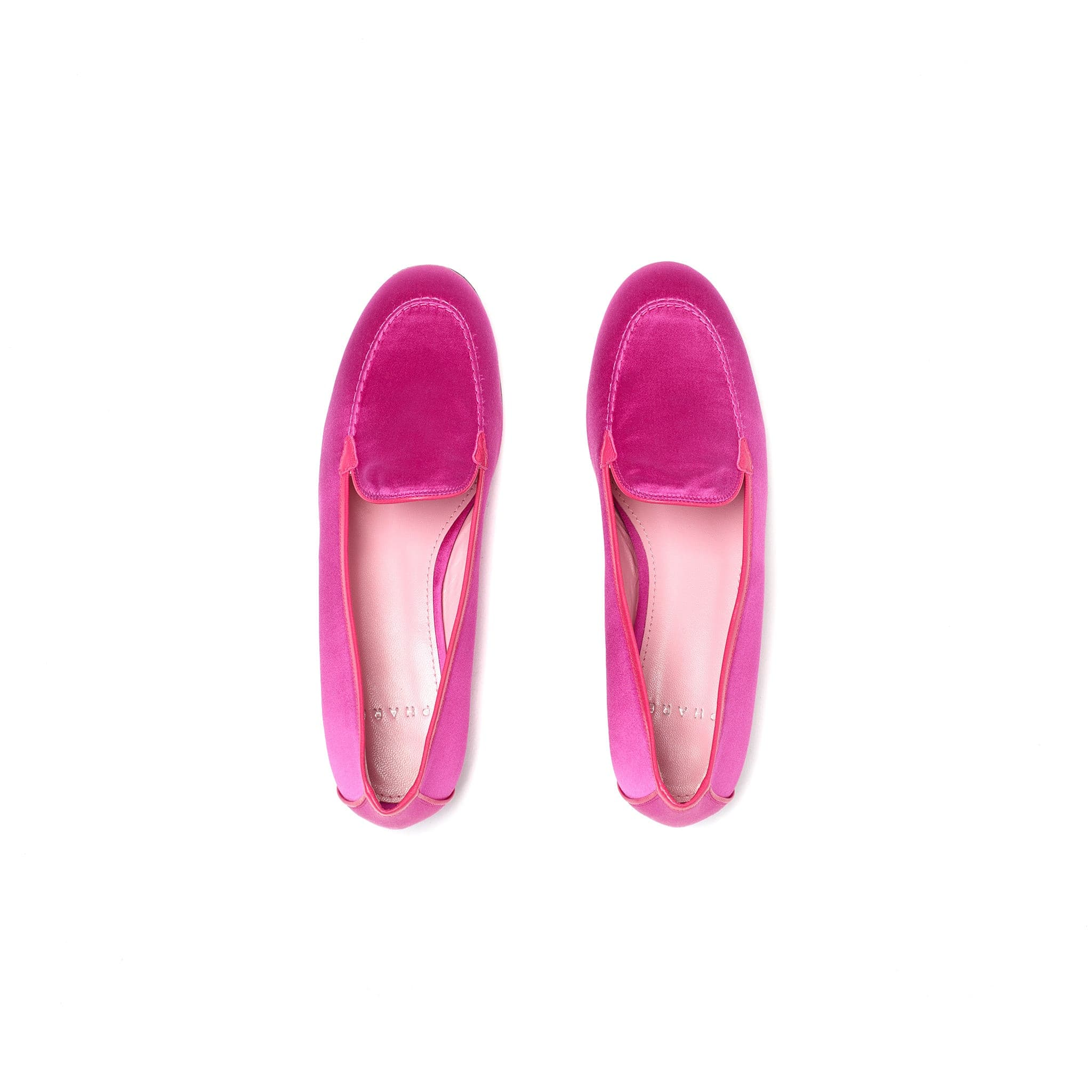 Phare classic loafer in magenta silk satin top view