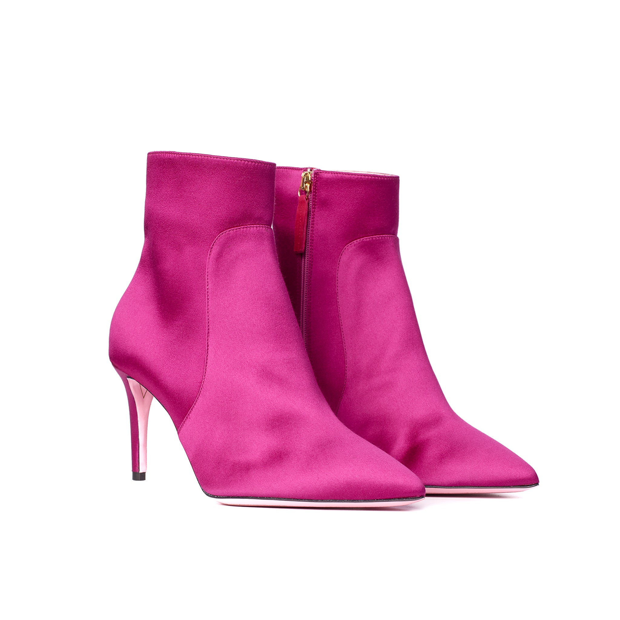 Phare classic heel Fuchsia Satin high heel boot, made in Italy 3/4 view