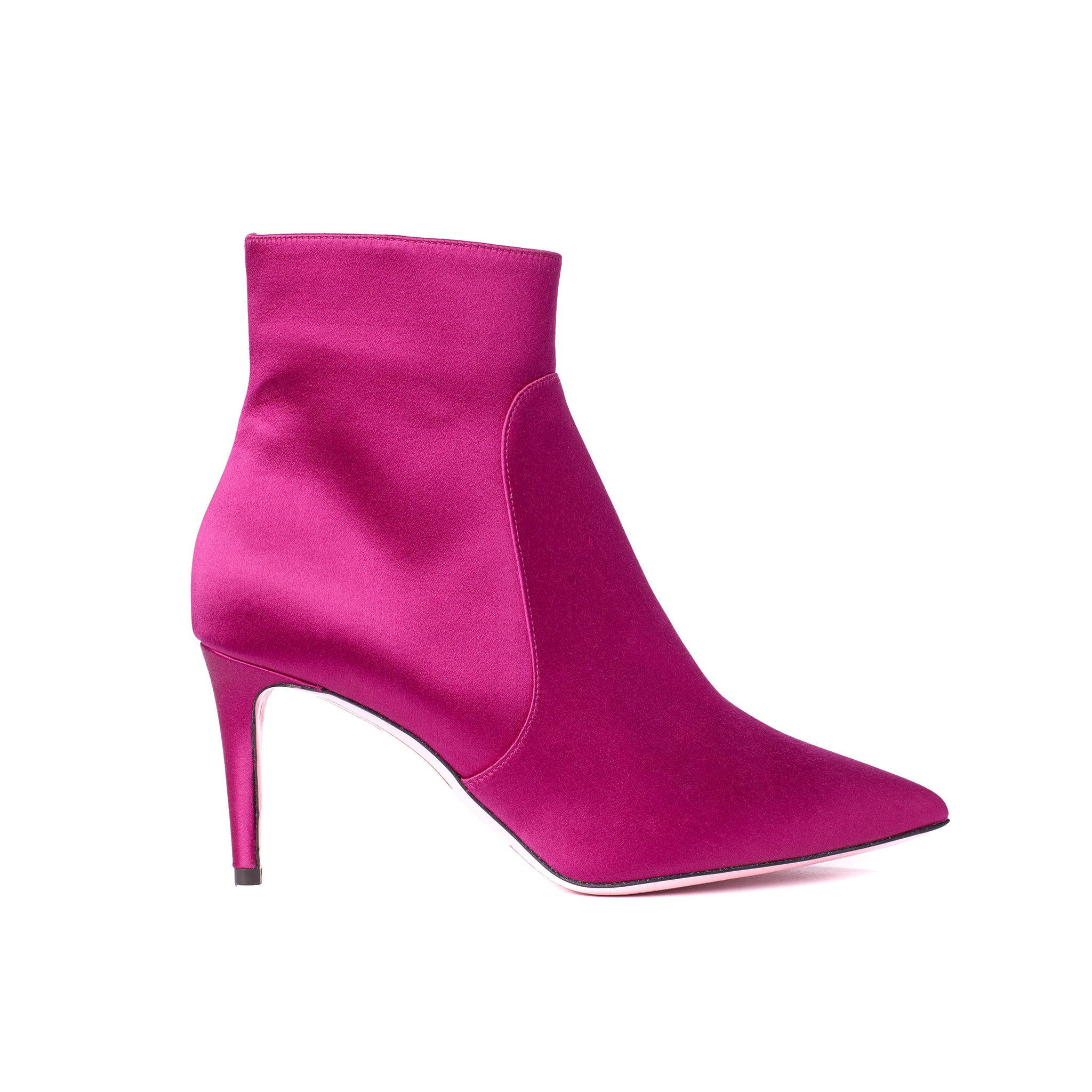 Phare classic heel Fuchsia Satin high heel boot, made in Italy