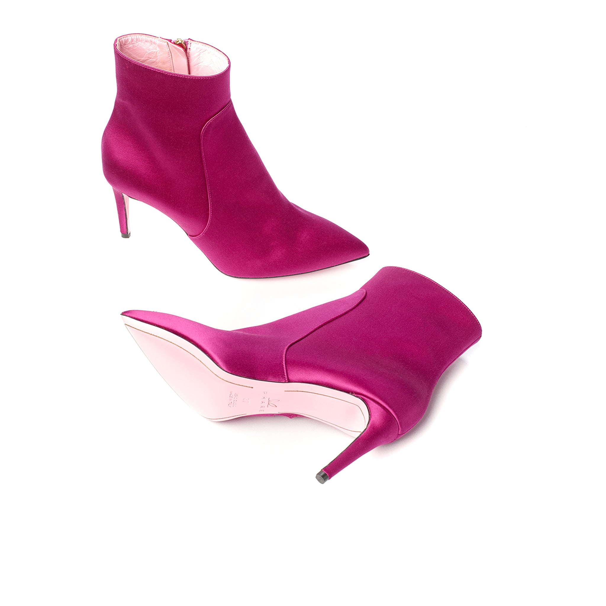 Phare classic heel Fuchsia Satin high heel boot, made in Italy sole view