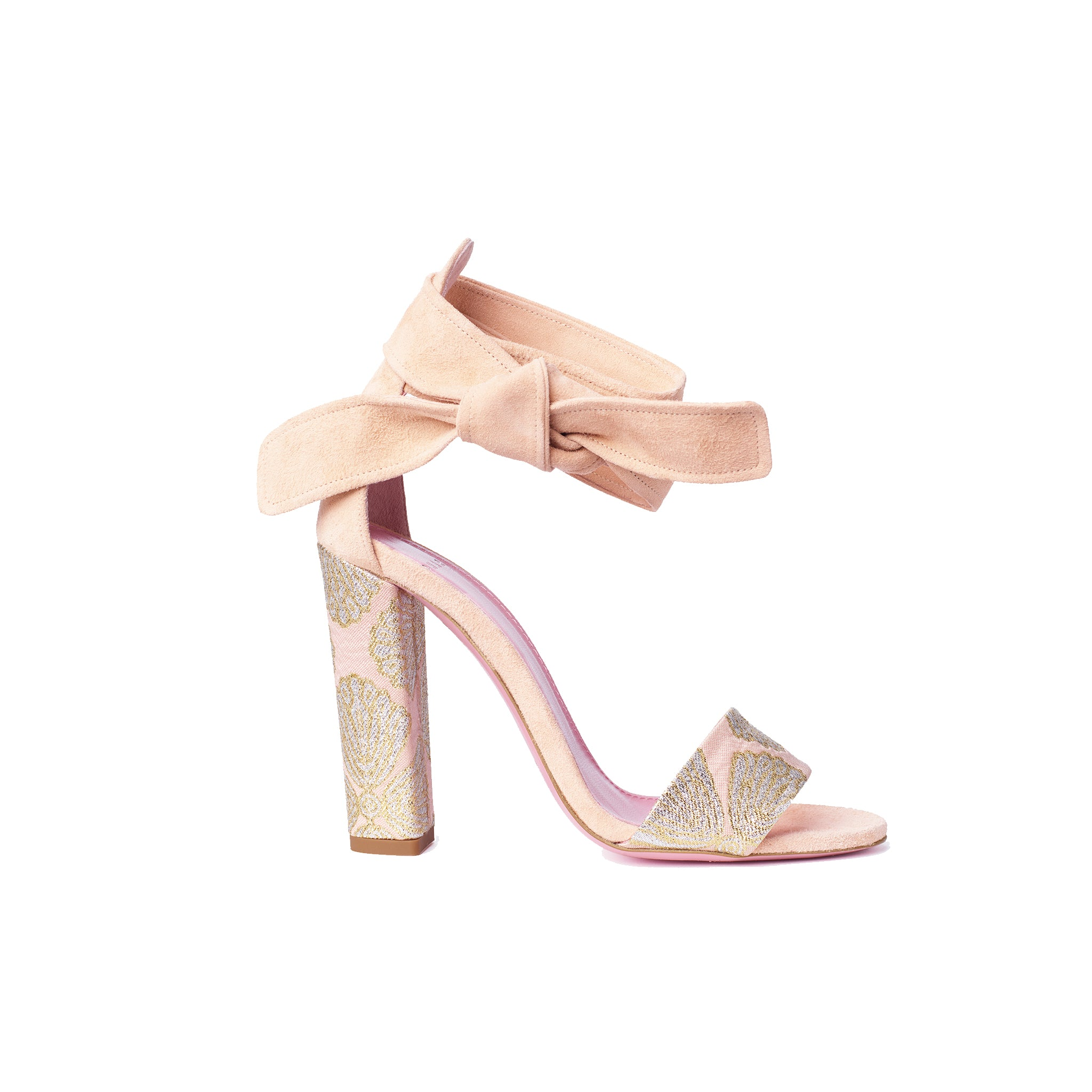 Phare Ankle tie block heel with metallic brocade heel and soft peach suede