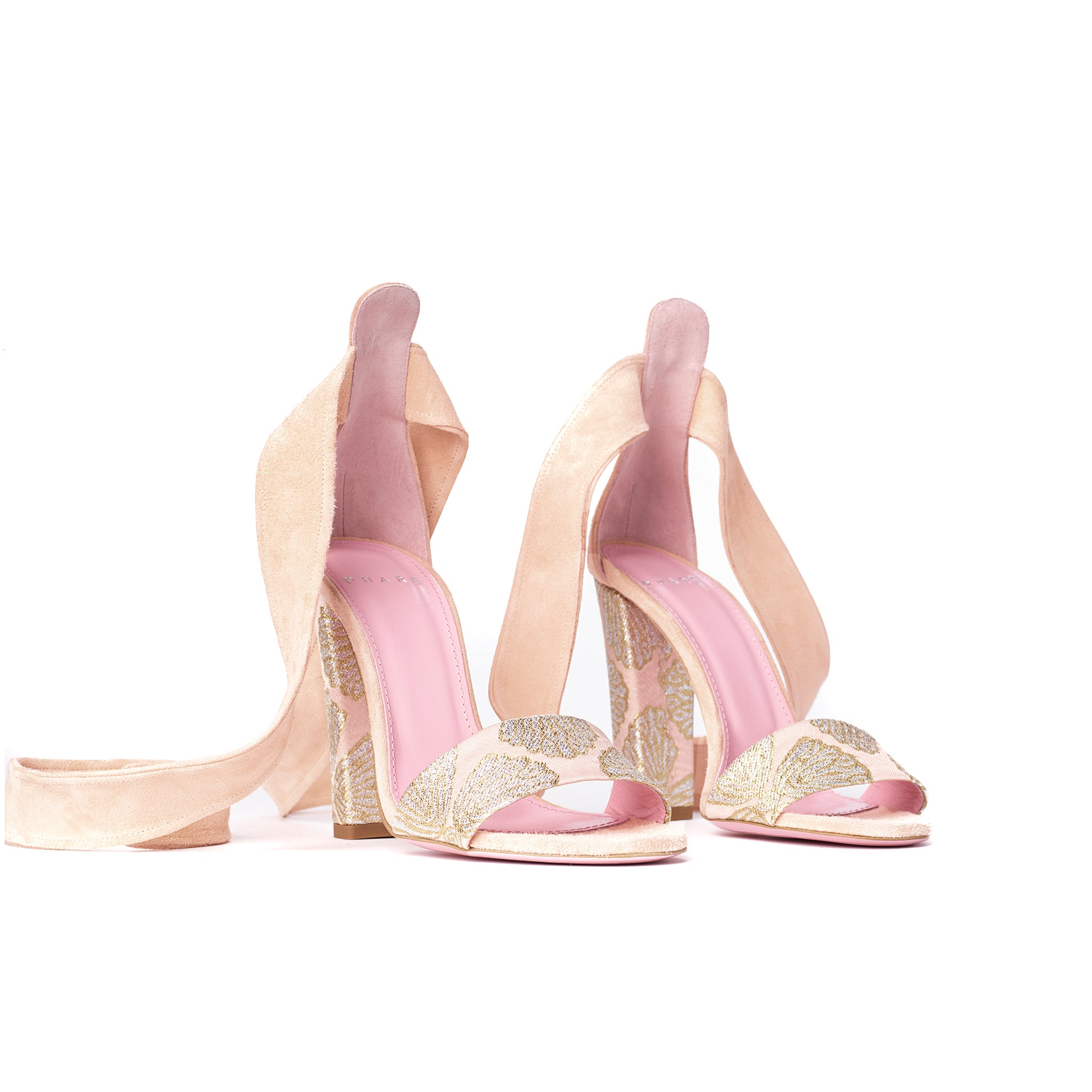 Phare Ankle tie block heel with metallic brocade heel and soft peach suede 3/4 view