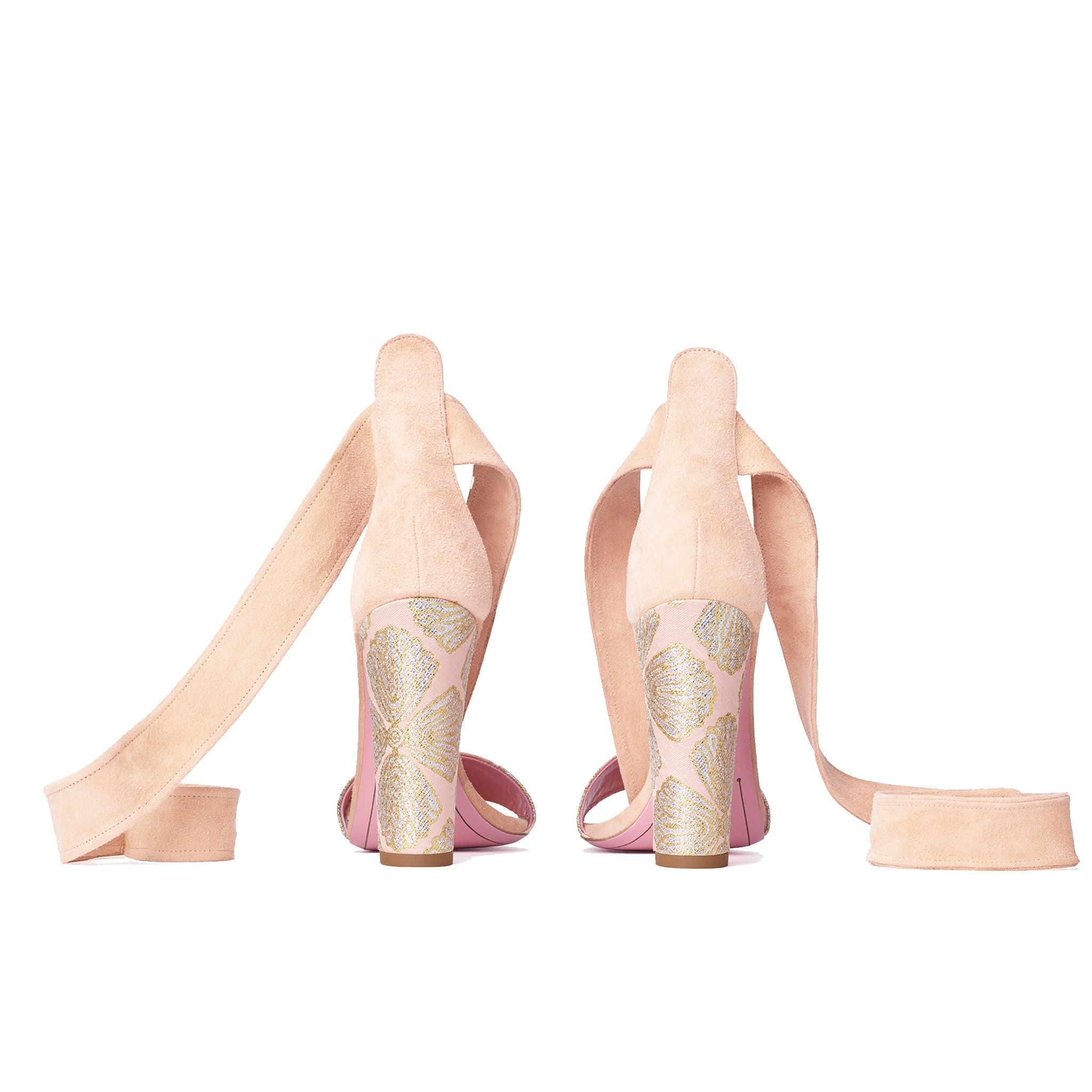 Phare Ankle tie block heel with metallic brocade heel and soft peach suede back view