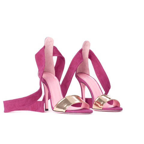 Phare Ankle tie stiletto in azalea suede 3/4 view