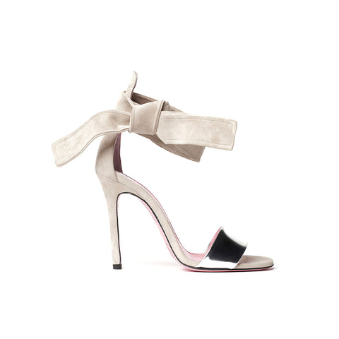 Phare Ankle tie stiletto in brulee suede with silver toe strap