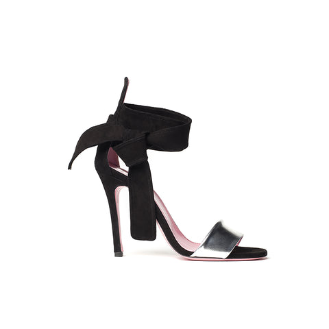 phare Ankle tie stiletto in black suede