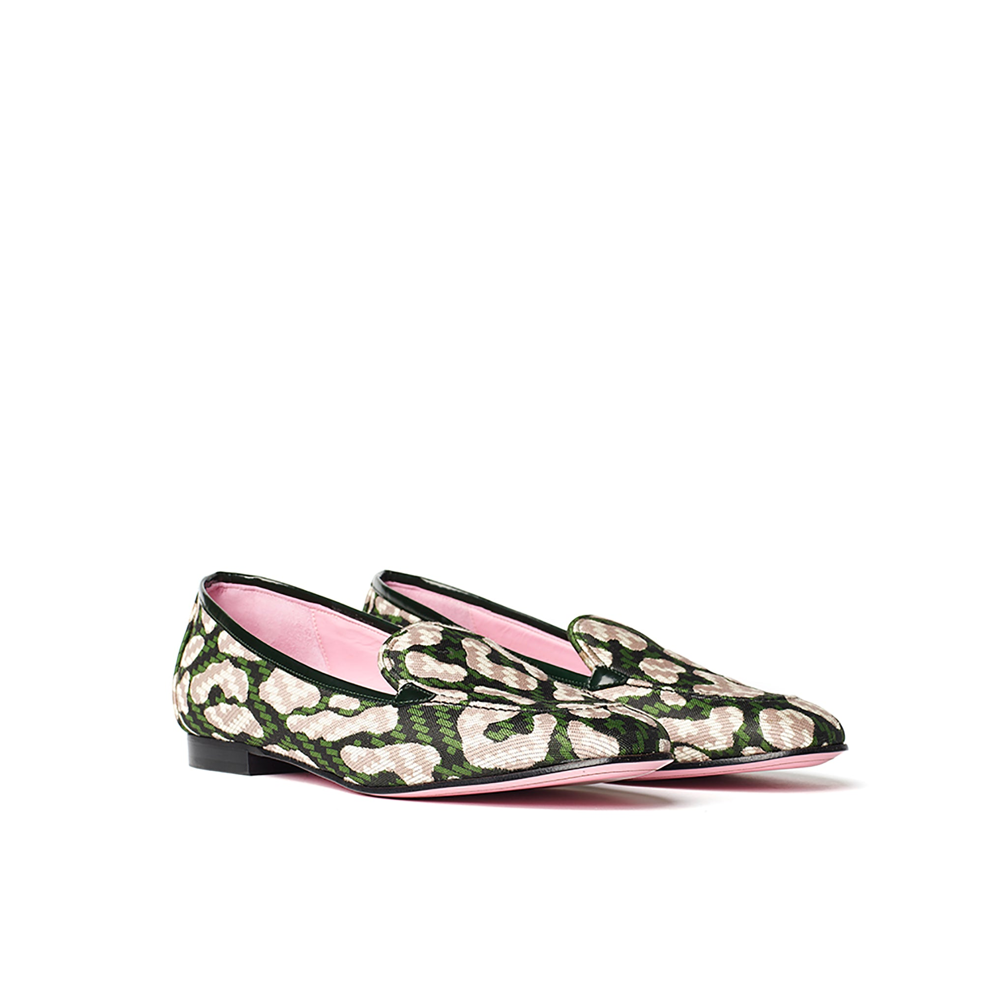 Phare classic loafer in dark green leopard jacquard 3.4 view