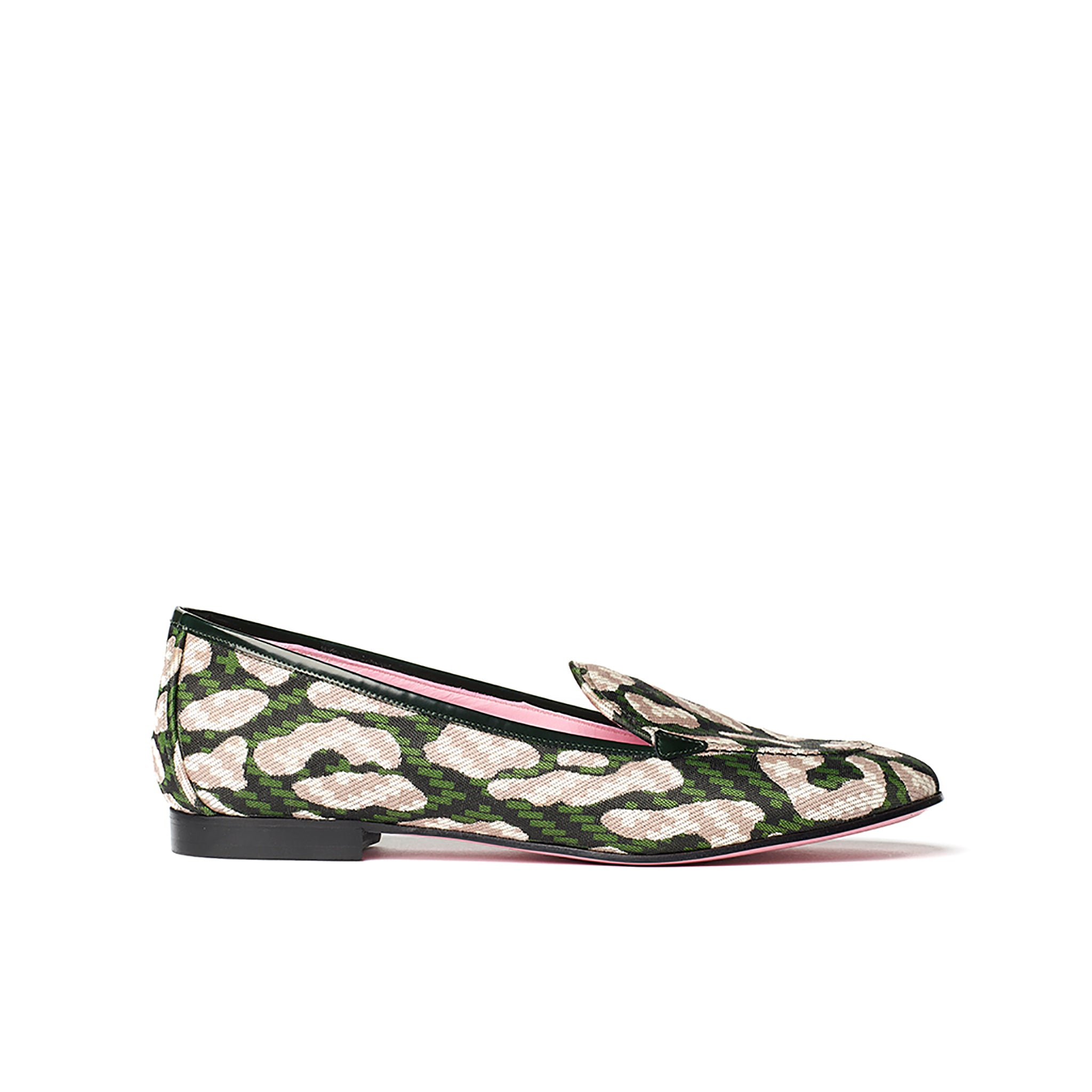Phare classic loafer in dark green leopard jacquard