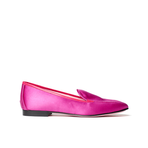 Phare classic loafer in magenta silk satin