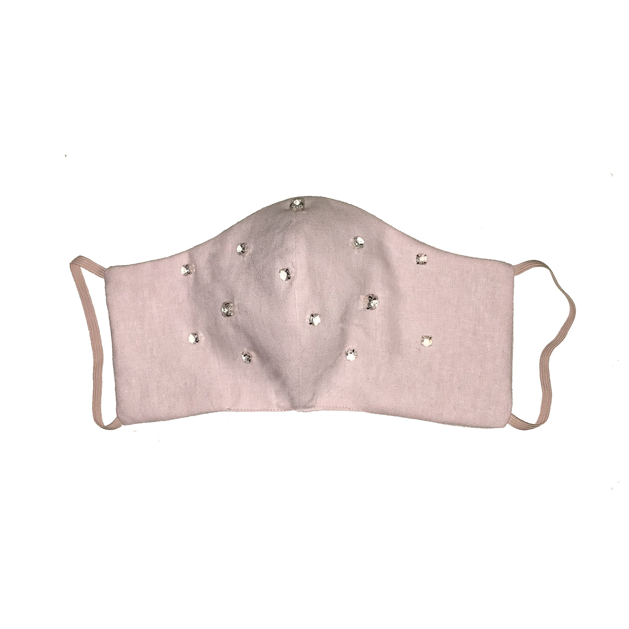 Bejewelled Face Mask Pale Pink all over jewel